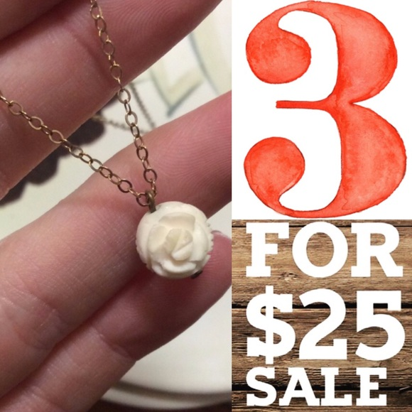 Vintage Jewelry - 14KGF Gold Chain w/Vintage Carved Rose